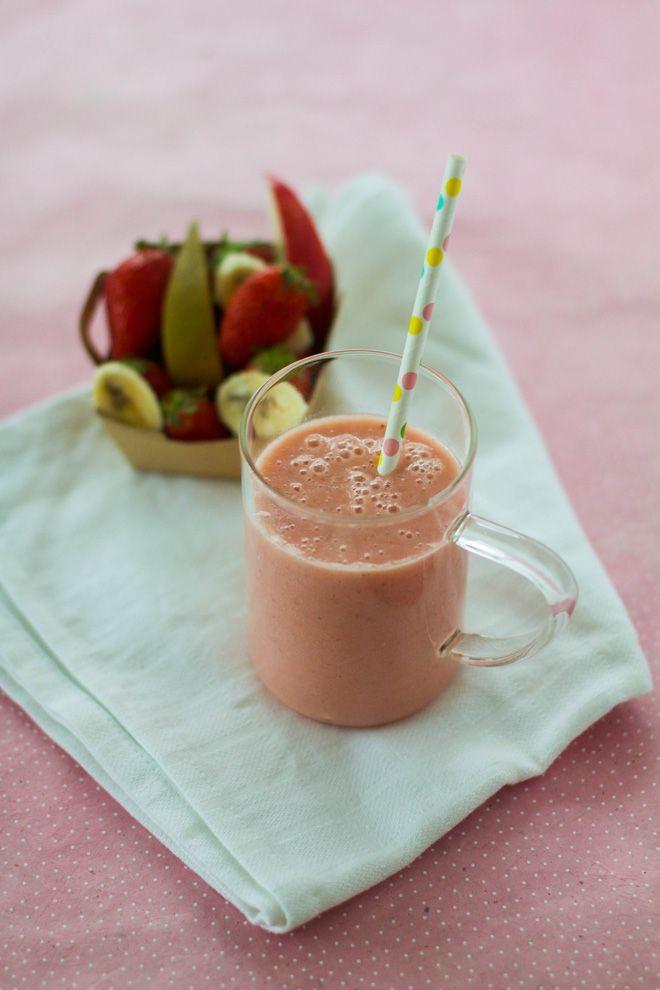 Smoothie printanier - fraise pomme poire banane et avoine