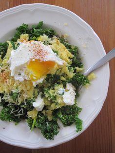 Polenta - chou frisé (kale) et oeuf poché