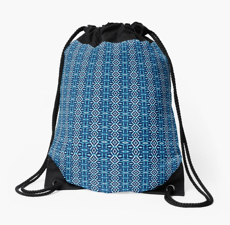 Meshed (Cerulean) Drawstring Bag by Terrella.  A pattern of horizontal and vertical diamonds with links between the bars.  This is the cerulean version. • Also buy this artwork on bags, apparel, phone cases, and more.