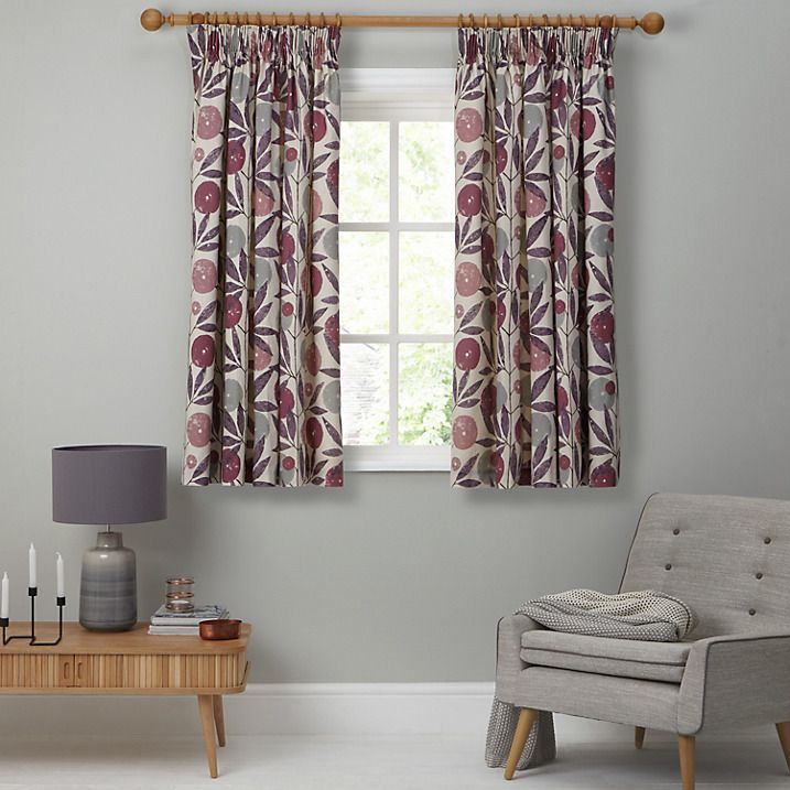 Buy Scion Blomma Lined Pencil Pleat Curtains, Pink / Purple, W167 x Drop 182cm Online at johnlewis.com