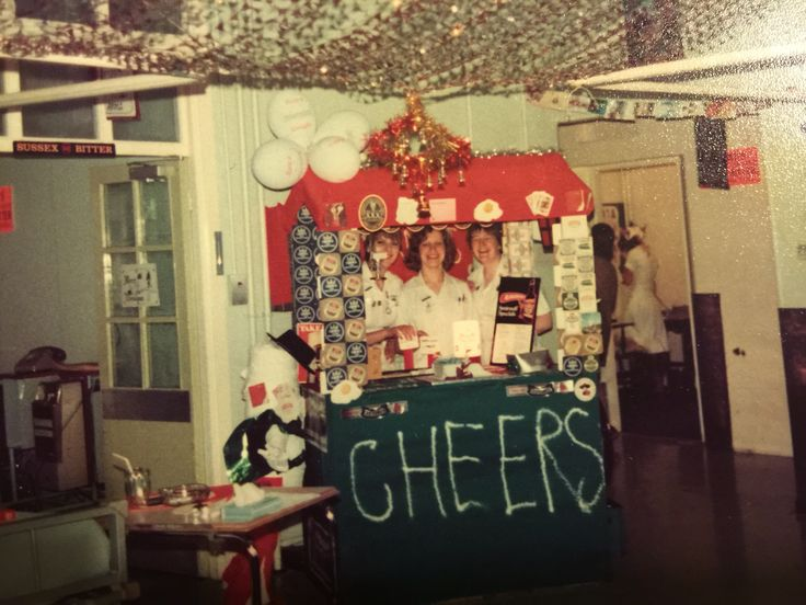 Peel ward Royal Sussex County Brighton. Christmas in the eighties. We were always allowed to decorate the ward which we loved. We tried to follow a theme but it always turned out a bit odd as none of us were artists but it was all good fun....One year the theme was Alice in Wonderland. I was the White rabbit because I was always late for work. I had to dress up on Christmas Eve as I was working the night shift. I remember trying to comfort a sweet lady of about ninety who couldn't grasp…