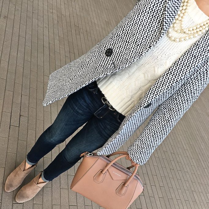 tweed coat, Givenchy small Antigona tote