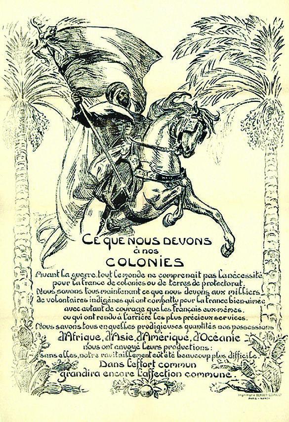 Ce que nous devons à nos colonies, affiche lithographiée, Prouvé et Berger-Levrault imprimeurs, 1918.
