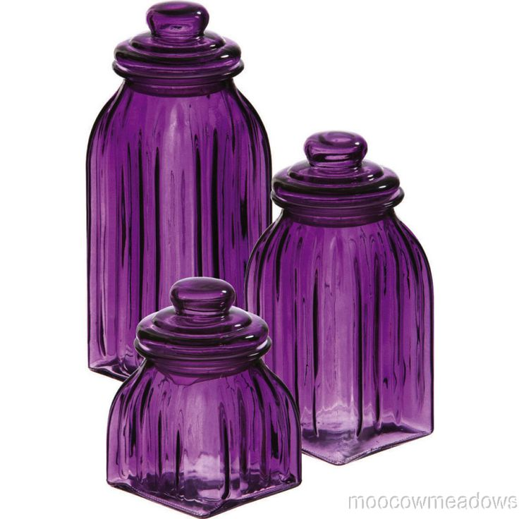 Nice New Purple GLASS JARS 3pc CANISTERS Kitchen Decor Storage Violet Home Accent