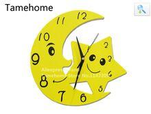 Tamehome chiaro di luna luna orologio da parete decal kid camera casa decorazione grande orologio da parete antico orologio da parete orologio da parete d'epoca(China (Mainland))