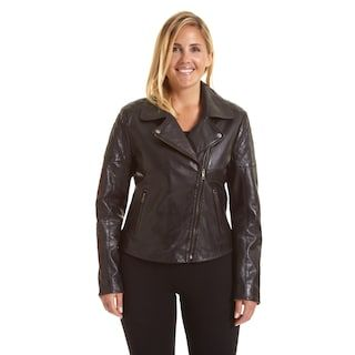 Plus Size Excelled Asymmetrical Leather Motorcycle Jacket 1x or 2x