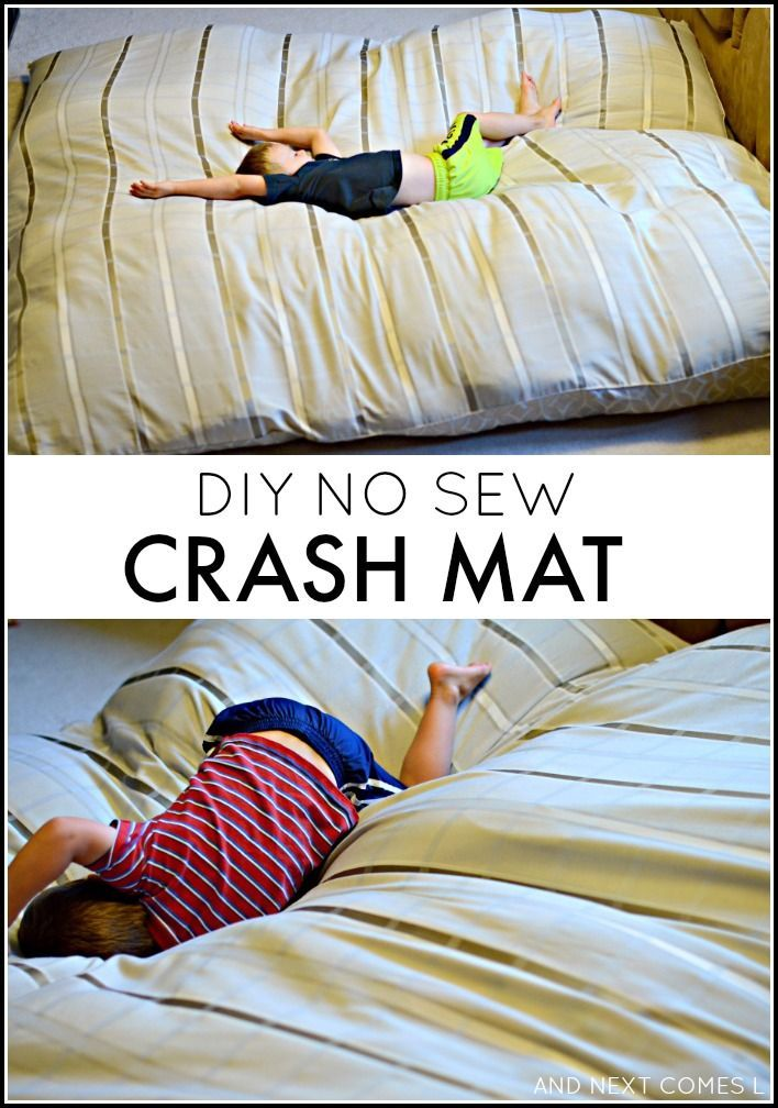 How to make a DIY no sew crash mat for kids - great for kids with autism and/or sensory processing disorder! from And Next Comes L