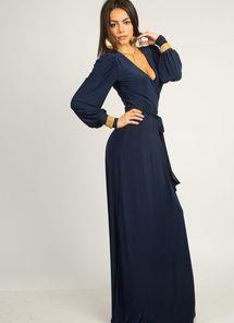 Купить темно синее платье с запахом