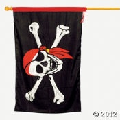 """Pirate Flag. Ahoy! Fly this 37"""" x 2-ft. skull and crossbones flag from your pirate ship $10"""