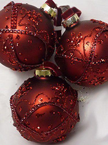 3-er Set hochwertige große DEKOR-Christbaumkugeln aus Glas – ROT mit GLitter