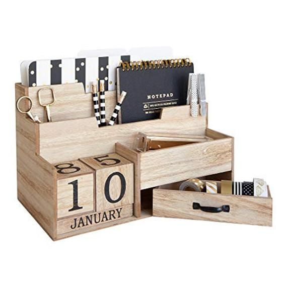 Wooden Mail Organizer Desktop With Block Calendar Mail Sorter