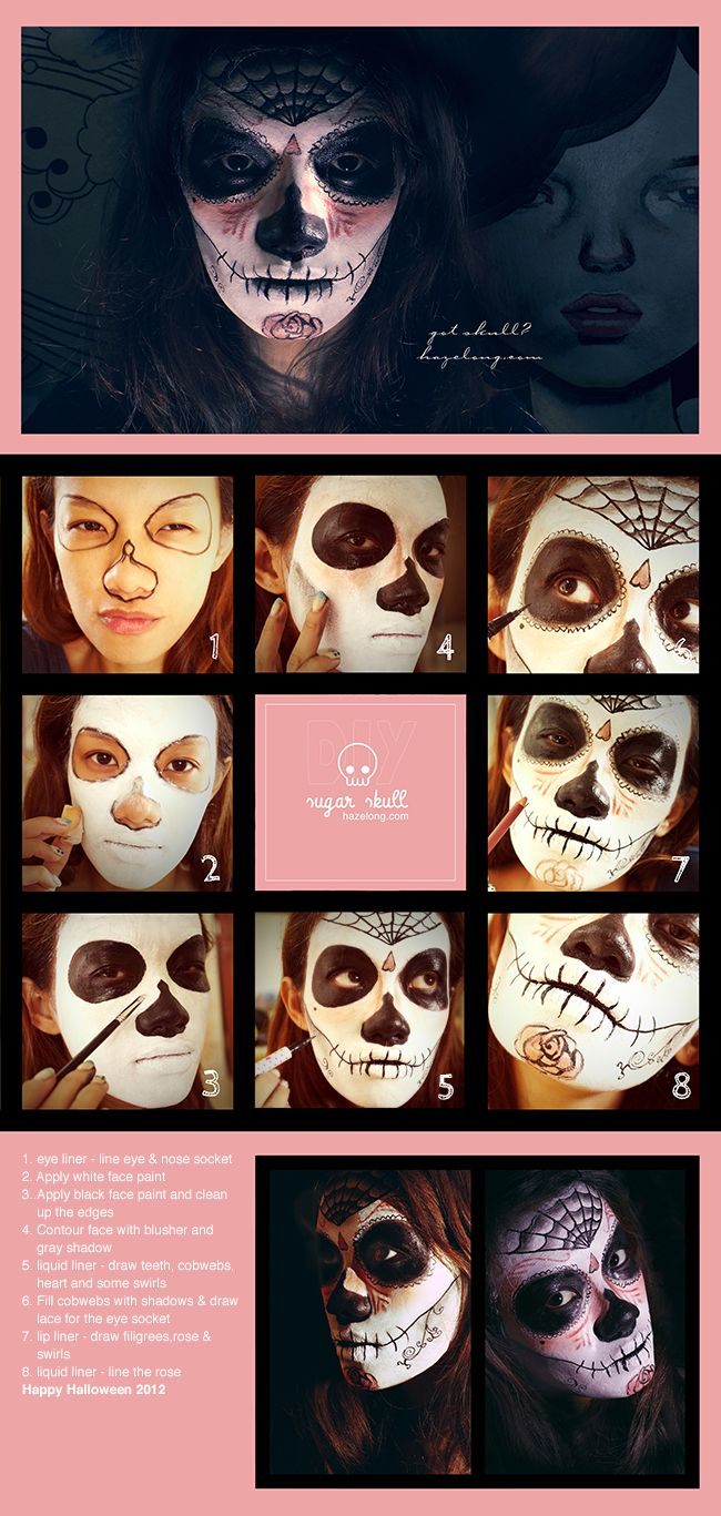 Halloween makeup tutorial – Sugar Skull... could use different colour to make less scary and more pretty