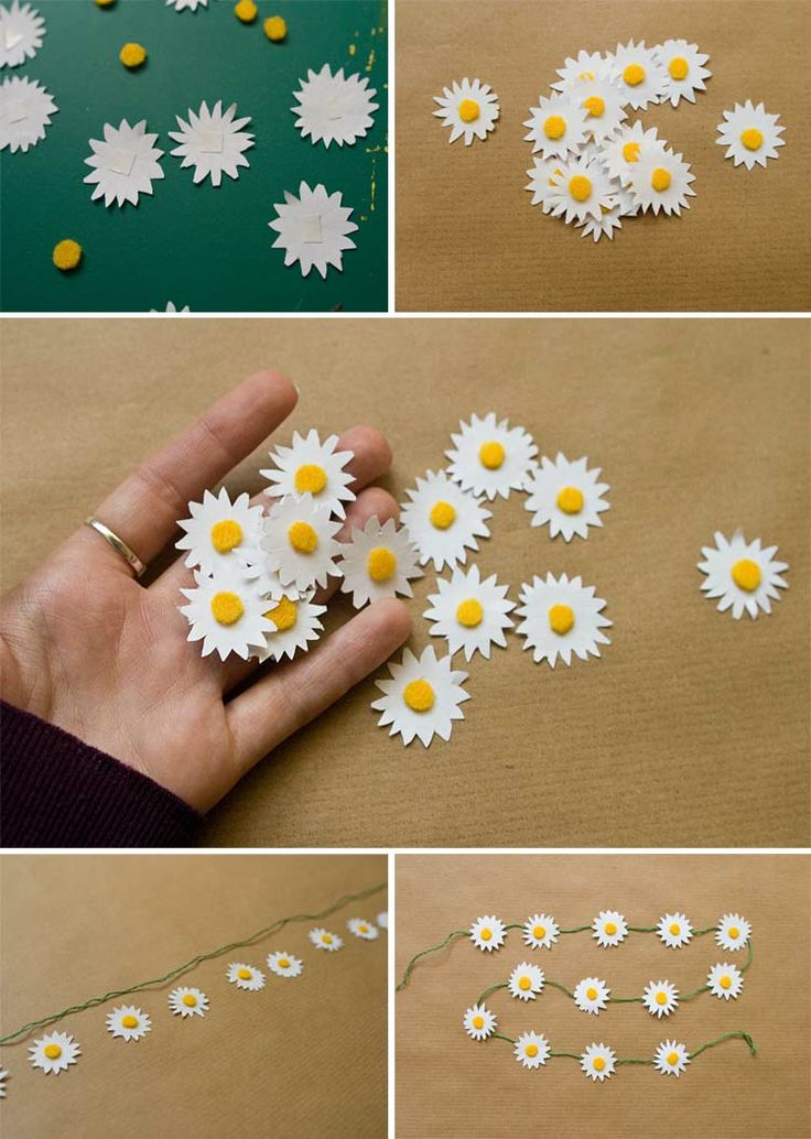 Inspiration gift wrap: DIY paper daisy chain from Pointless Pretty Things.