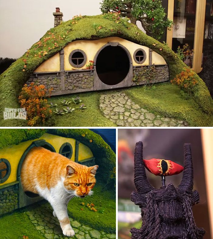 Lord Of The Rings litter box and Sauron scratching post for discerning cats...