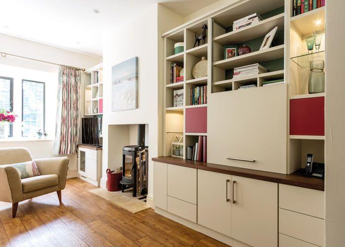 Bespoke Furniture Fitted Furniture Neville Johnson Alcove Shelving Shelves Snug Room