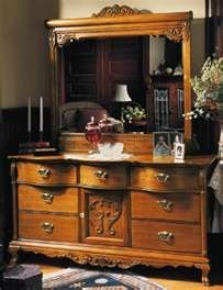 Lexington Victorian Sampler Collection Door Triple Dresser Base 391-235 Landscape Mirror 391-206. Oak. Beveled mirror. 3 Available. $600 - $900