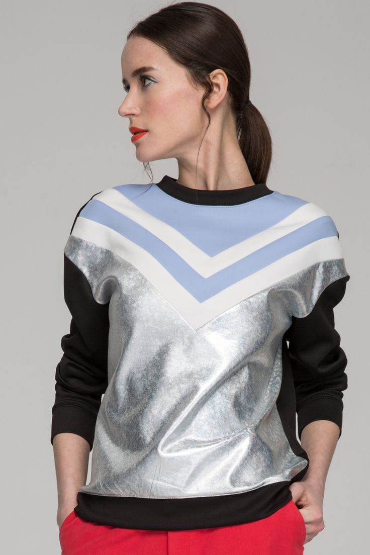Holographic sweatshirt with contrast panel - FrontRowShop