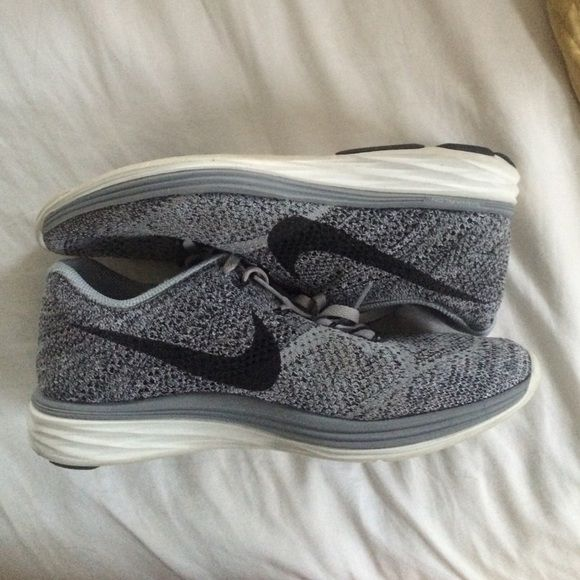 Nike Flyknit Lunar 3 grey and black nike running shoes. worn 3 times and in perfect condition. women's size 10 Nike Shoes Athletic Shoes