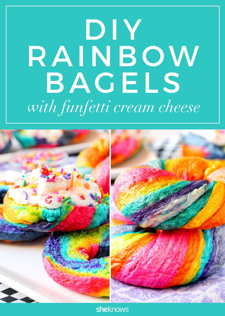 Make your own rainbow bagels with funfetti cream cheese