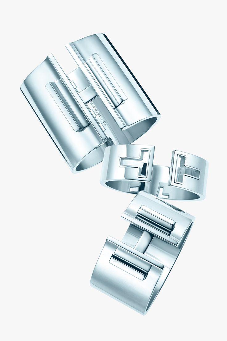 Tiffany T wide bar hinged cuff, cutout cuff and bar hinged cuff in sterling silver. #TiffanyPinterest #TiffanyT