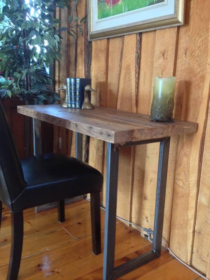table m langeant le rustique avec le moderne en m tal et bois de grange 299 magasin. Black Bedroom Furniture Sets. Home Design Ideas