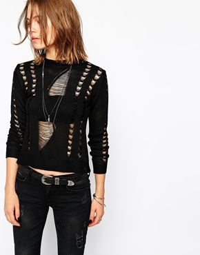 $45 Black Open-stitch Rock & Religion Maya Ladder Knit Top