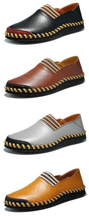 Men Hand Stitching Elastic Panels British Style Flat Soft Casual Loafers