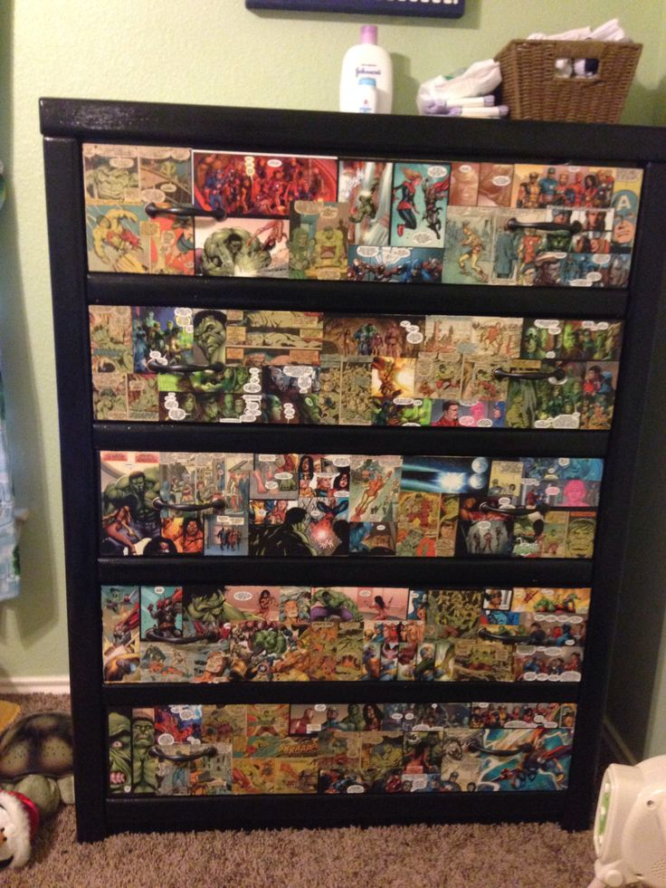 Diy Boys Avenger themed dresser using comic strips and mod podge. My son loves it!