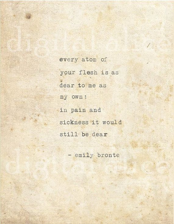 Love VINTAGE TYPEWRITER PRINT Emily Bronte Quote by DigitalAlice