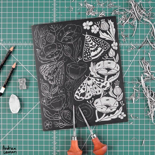 Andrea Lauren (@inkprintrepeat) | Enjoyed starting to carve this new linocut over the weekend. | Intagme - The Best Instagram Widget
