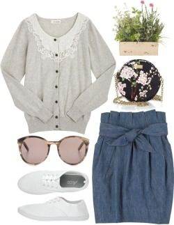Lace Collar Cardigan / 3.1 Philip Lim Tulip Skirt / Canvas Sneakers / Sepia Round Sunglasses / D&G Floral Crossbody Bag