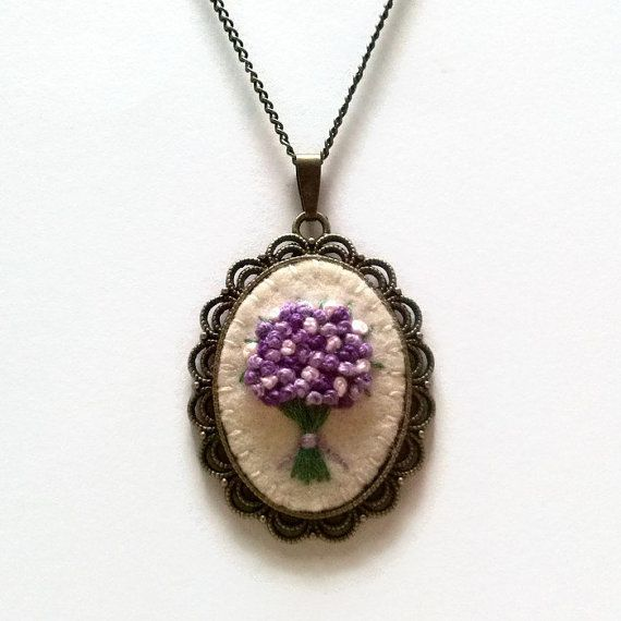 Lilac Embroidered Bouquet Pendant Necklace, Floral Flower Embroidery Jewelry wool felt bronze brass antique style necklace Mother's day gift