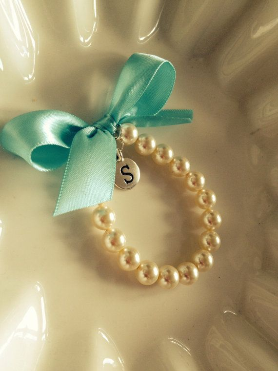 NEW Little Girl  Pearl Bracelet with Silver initial charm  Flower Girl Bracelet, Flower Girl Jewelry and Gift