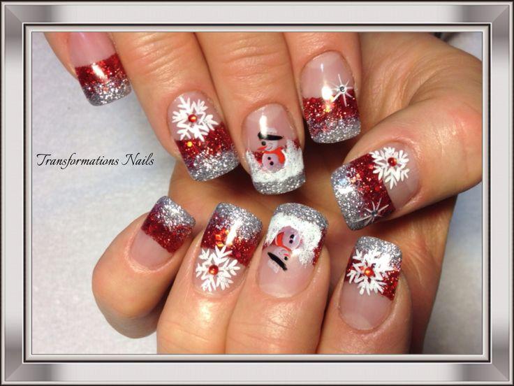 #snowman nails #snowflake nails  #christmax nails #art #nails by #transformations Nails. #red white nails #freehand  #nail art #funky nail #black nails #sparkle nail #shine nails