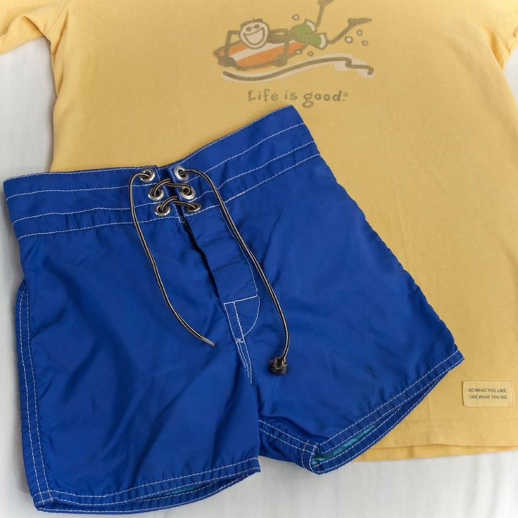 Blue Baby Birdwell Surf Shorts beach britches swim trunks / BIRDWELL Made in USA vintage babe surf shorts Baywatch Bub Surfs Up Hawaii Party by shophonuavintage on Etsy