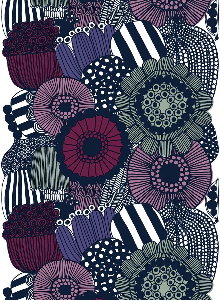 Large floral print fabric, textile design by Marimekko. Inspiring pattern for any DIY project