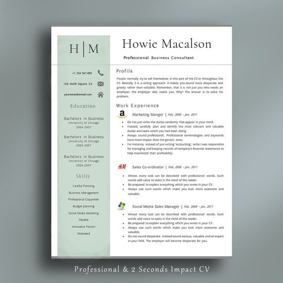 Resume Template | Professional Resume Template | Creative CV | Modern CV | Professional  CV Template | For Any Job Application