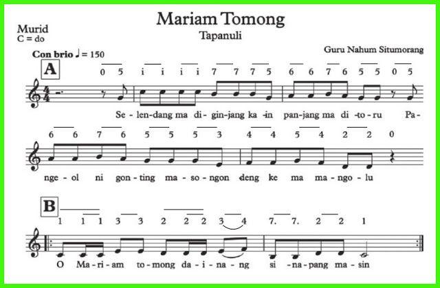 Not Lagu Mariam Tomong Buku Belajar Lagu