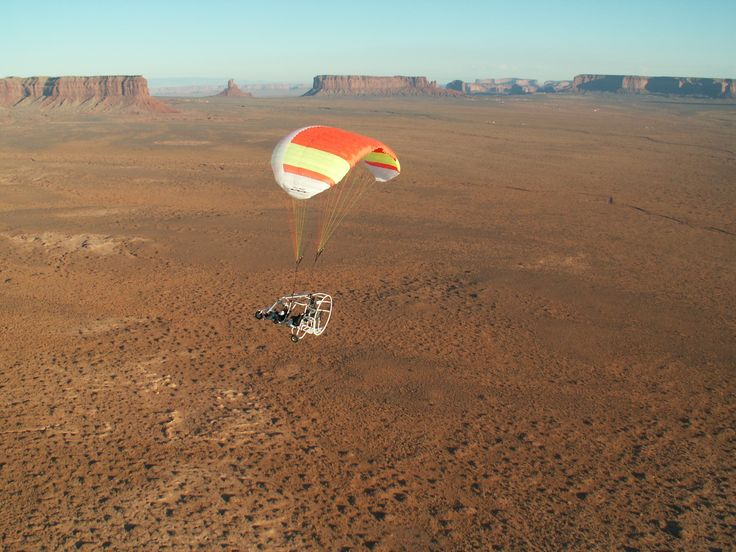Powered parachute in Monument Valley