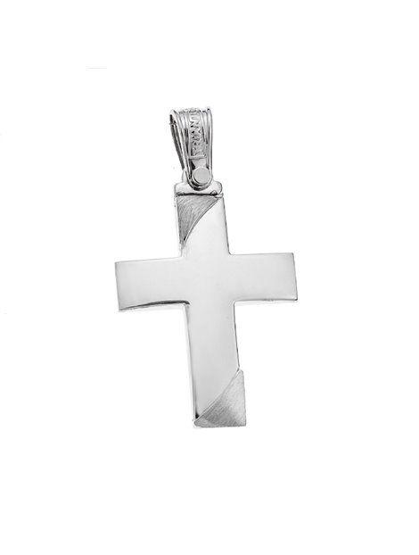 Σταυρός Τριάντος Βαπτιστικός Λευκόχρυσος 14Κ Αναφορά 021025 Βαπτιστικός σταυρός του οίκου Τριάντος, που μπορείτε να χαρίσετε σε ένα αγόρι ή άνδρα από Χρυσό 14Κ σε λευκό χρώμα.Ο σταυρός μπορεί να συνδυαστεί είτε με αλυσίδα λευκόχρυση είτε με δερμάτινο κορδονάκι στο χρώμα της αρεσκείας σας.