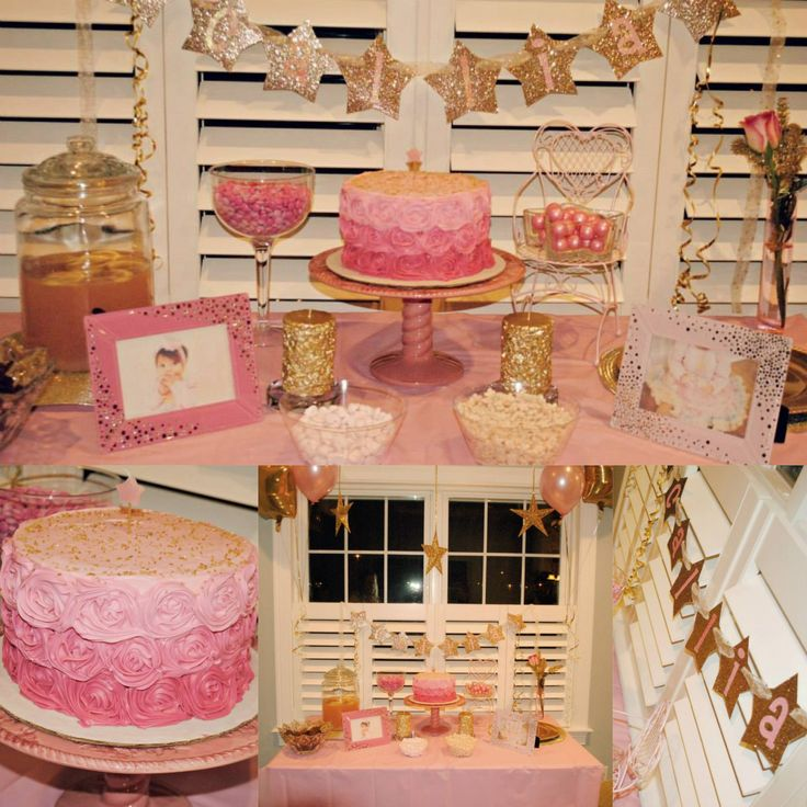 Pink and gold twinkle little star first birthday
