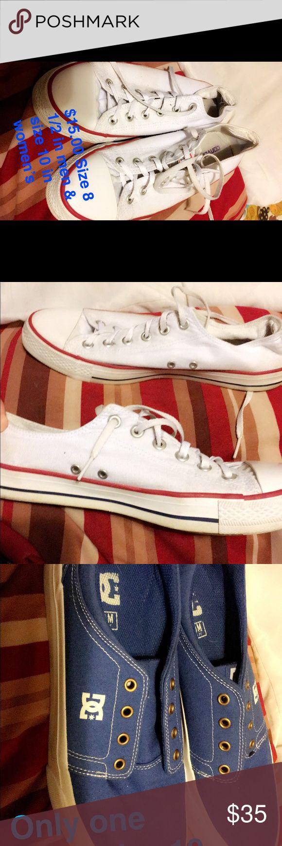Shoes & Apron Converse shoes size 10 $15.00 Boots size 10 $15.00 Blue DC sneakers size 10 $10.00 Blue Polkadotted sneakers size 9 $5.00 Arkansas Razorback Apron $15.00 & Other Stories Shoes Sneakers