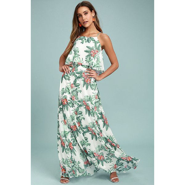 Evadne White and Teal Tropical Print Two-Piece Maxi Dress ($89) ❤ liked on Polyvore featuring dresses, white, white 2 piece dress, long maxi skirts, high-waisted maxi skirts, teal maxi dress and teal maxi skirt