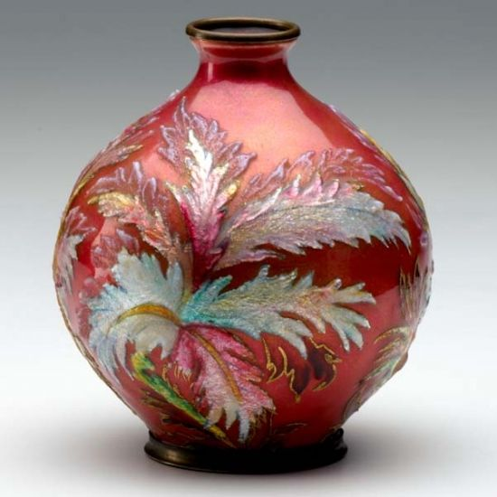 camille faure art | CAMILLE FAURE Enamel-decorated metal vase on a rich red ground. Signed ...