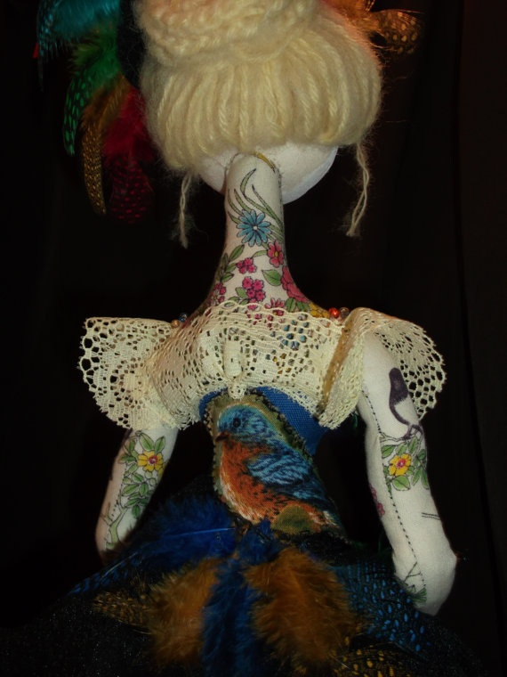 One of a kind cloth art doll soft sculpture figurine by annahoy, $200.00
