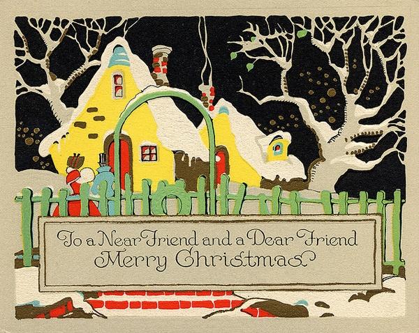 Vintage Christmas Cards, Looks like Mary Engelbreit, but actually earlier.