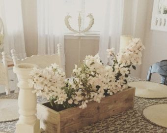 Pallet legno fioriera Box • centrotavola in barattolo di vetro, di legno lunga casella, portacandele, centrotavola matrimonio • rigenerata incompiuta - legno riciclato