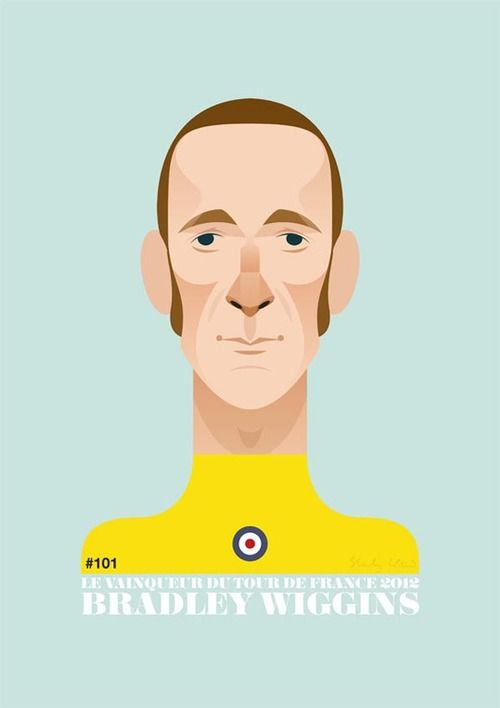 "2012 Tour de France champion and olympic time trial winner: Bradley Wiggins, illustrated by Stanley Chow. Available in different sizes as graphic art print here. ""Go Wiggo"""