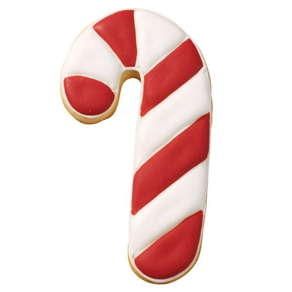 Red and White Festive Treat Cookie - Just one look at this dazzling candy cane cookie will let everyone know the holidays have begun. Use our Roll-out Cookie Dough Recipe and Candy Cane Comfort Grip™ Cutter to make this festive symbol.