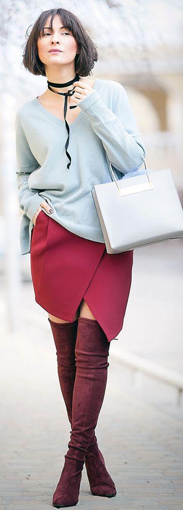 serenity sweater | marsala mini skirt | balenciaga cable shopper bag | spring outfit ideas | fashion blogger | ellena Galant
